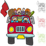 Road Trip Pickup Truck Family Stock Image
