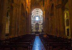 Inside lisbon cathedral stock image