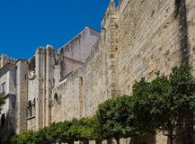 Wall from cathedral of lisbon stock photo