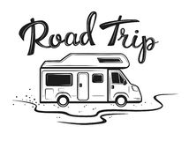 Road trip poster with camper on the way to holidays. In black color with hand written text vector illustration