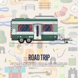 Road trip poster with camping trailer. Car RV trailer caravan, compact motorhome sale advertising template. Mobile home for country traveling and outdoor Stock Photography