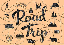 Road trip poster with a stylized map with point of interests. And sighseeing for travelers like city, old castle, monastery, fan fair, beach, sea, forest Stock Images