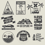 Road trip quote collection black and white Royalty Free Stock Image