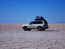 Road trip in the Salt Flat of Uyuni. Bolovia stock photos