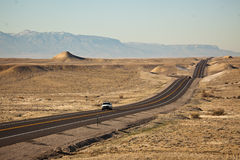 Road Trip. SUV on Desert Road - Colorado, USA stock photography