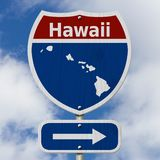 Road trip to Hawaii with sky. Road trip to Hawaii, Red, white and blue interstate highway road sign with word Hawaii and map of Hawaii with sky background stock photos