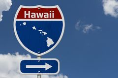 Road trip to Hawaii with bright sky. Road trip to Hawaii, Red, white and blue interstate highway road sign with word Hawaii and map of Hawaii with sky background royalty free stock photography