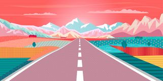Road Trip to Mountain Sunset Landscape Vector Illustration
