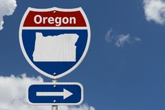 Road trip to Oregon with sky background royalty free stock photo