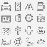 Road trip, travel and navigation line icons Stock Image