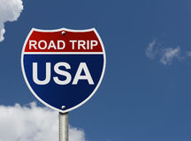 Road Trip USA. An American road interstate sign with words Road Trip USA with sky, Road Trip USA Royalty Free Stock Photo