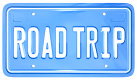 Road Trip Vanity License Plate Holiday Travel. A blue license plate with the words Road Trip symbolizing your upcoming travel for holiday or vacation or business Stock Photography