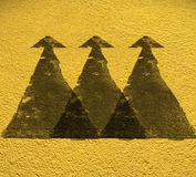 Road Triple arrow direction with Yellow floor background. With C Royalty Free Stock Photo