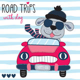 Road trips with cute dog vector illustration Royalty Free Stock Photography