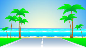 Road and a tropical landscape Stock Photos