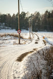 Road trough contryside in winter, Norway. Road trough norwegian contryside in snowy winter afternoon Stock Images