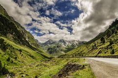 Road trough the Pyrenees mountains Royalty Free Stock Photo