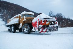 Road truck for snow cleaning Royalty Free Stock Photos