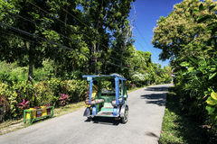 Road and tuk tuk moto taxi on tropical boracay philippines Royalty Free Stock Photos