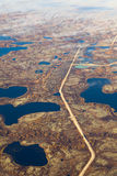 Road in tundra, top view Royalty Free Stock Photography