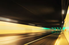 Road tunnel. Inside road tunnel at night stock image