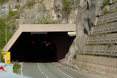 Road tunnel. A tunnel on the A55 expressway, North Wales, UK, with a walkway and an engineered retaining wall with steel pins Royalty Free Stock Image