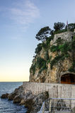 Road and tunnel along the sea in Monaco Stock Photography