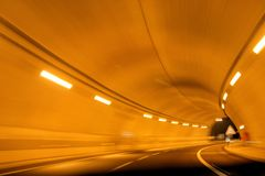 Road Tunnel Blur. A road tunnel picture taken in motion Stock Photo