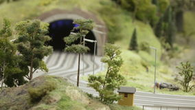Road tunnel in the city. ST. PETERSBURG - JULY 2016: Road tunnel in small city, Russia. The Grand Maket, which opened in 2011, is a 1:87 scale replica of the stock video footage