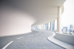Road tunnel with city view Royalty Free Stock Photos