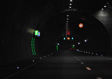 Road tunnel. Dark road tunnel with marking lights (A 71 in Germany, near Suhl royalty free stock image