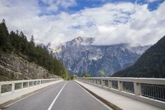 The road and tunnel in the Julian Alps Royalty Free Stock Photos