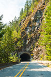 Road Tunnel ,Mountain Tunnel  through the rock mountain.. Stock Photos