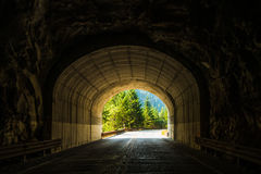 Road Tunnel ,Mountain Tunnel  through the rock mountain. Royalty Free Stock Photos