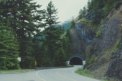 Road tunnel in the Olympic national park, Washington state Stock Images