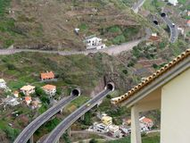 Road tunnels on the island of Madeira. In the suburbs of Funchal Royalty Free Stock Photos