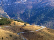 Road turn around a mountain in the Basque Country natural park Royalty Free Stock Photos
