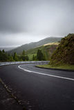 Road turn bending downhill to the right - Azores, Sao Miguel Isl