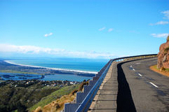 Road turn ocean view Christchurch Royalty Free Stock Image