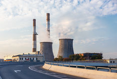 Road turn with power station Stock Photos
