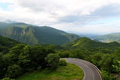 Road. Two lanes road for going up to mountain. it is way to go to world heritage  in tochigi japan Royalty Free Stock Photos