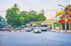 The road between two temples, Yangon, Myanmar Stock Images