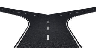 Road with two ways Royalty Free Stock Images