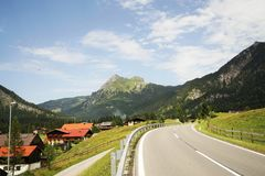 Road in the Tyrolean Alps Royalty Free Stock Photos