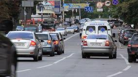 Road. UKRAINE, KIEV, SEPTEMBER 7, 2010: Trafficway in Kiev, Ukraine, September, 7, 2010 stock video footage