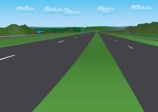 Road under blue sky - vector. Landscape - road under blue sky -  illustration Stock Photos