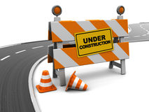 Road under construction. 3d illustration of under construction barrier and asphalt road Royalty Free Stock Image