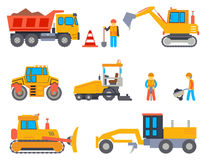 Road under construction flat vector icons set. Road under construction flat icons set. Car industry, road work, machine and paver, transportation industrial Royalty Free Stock Photography