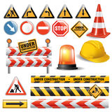 Road under construction. Set of signs and symbols under construction. Vector illustration Stock Photo