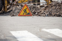 Road is under construction sign Royalty Free Stock Photo